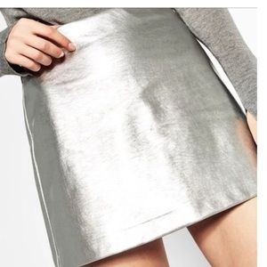 KORS Michael Kors • Silver Leather Mini Skirt